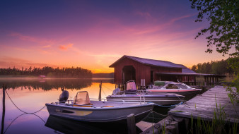 вечер, закат, лодки, река