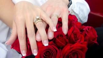 кольца, обручальные, молодожены, розы