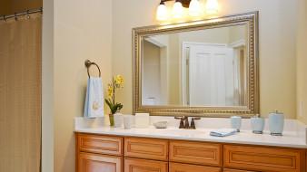 интерьер, ванная и туалетная комнаты, полотенце, раковина, зеркало, шторка