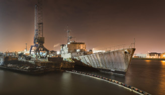 порт, ночь, корабль