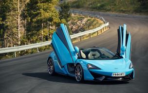дорога, blue, spider, McLaren, 570S, Worldwide