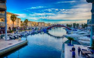 лодка, Фрежюс, Франция, дома, канал, яхта, мост, рассвет, Прованс-Альпы-Лазурный берег, утро