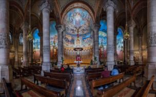 скамья, архитектура, религия, Храм Святого Сердца, колонна, Барселона, крипта, Испания