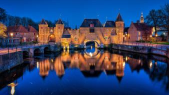 koppelpoort,  amersfoort, города, - огни ночного города, панорама, ночь