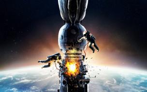 взрыв, космонавты, космическая станция, фильм, скафандры, планета, Земля, космос, Салют-7, СССР, огонь, постер, авария, звёзды, двое