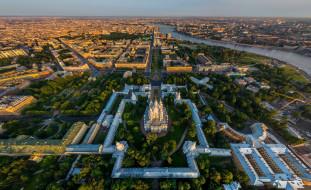 смольный собор,  санкт-петербург, города, санкт-петербург,  петергоф , россия, деревья, строения, дома, храм, панорама