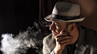 обои для рабочего стола 1920x1080 мужчины, - unsort, шляпа, дым, сигара