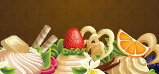 вектор, ягоды, крем