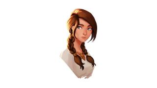 девушка, волосы, косички, лицо