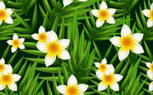 листья, цветы, фон