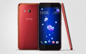 2017, смартфоны HTC U11 на сером фоне