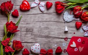 праздничные, день святого валентина,  сердечки,  любовь, valentine`s, day, love, heart, red, gift, tulips, тюльпаны, romantic