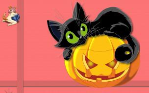 логотип, фон, Halloween, тыква