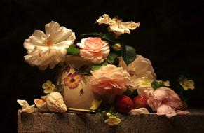 цветы, розы, абрикос, ракушки, композиция