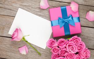 праздничные, день святого валентина,  сердечки,  любовь, бант, бутоны, gift, розовые, розы, подарок, букет, bouquet, день, святого, валентина, roses, любовь, лепестки, коробка, valentine's, day, романтика