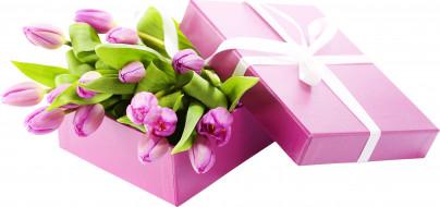 праздничные, день святого валентина,  сердечки,  любовь, тюльпаны, плдарок