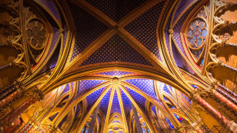 интерьер, убранство,  роспись храма, капелла, париж, франция, готика, сент-шапель, часовня