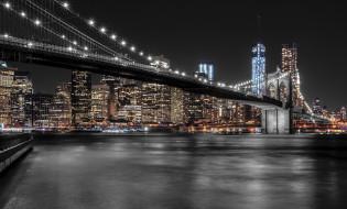 manhattan skyline,  new york, города, нью-йорк , сша, панорама, ночь, небоскребы