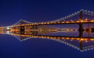 manhattan bridge,  new york, города, нью-йорк , сша, панорама, ночь, небоскребы