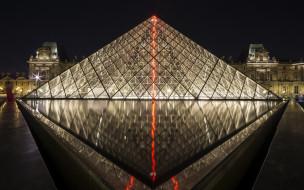 louvre,  paris, города, париж , франция, музей, ночь, огни