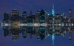 manhattan,  new york, города, нью-йорк , сша, небоскребы, панорама, ночь