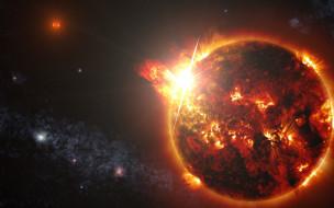 космос, солнце, планета, вселенная, звезды, галактика