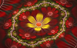 3д графика, цветы , flowers, фон, узор, цвета