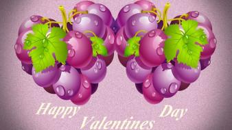праздничные, день святого валентина,  сердечки,  любовь, листья, виноград, фон