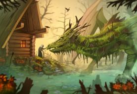 фэнтези, драконы, старушка, болото, by, yakovlev-vad, дом, дракон