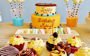 праздничные, день рождения, большой, красивый, торт, и, капкейки, ко, дню, рождения