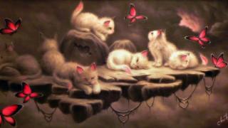 рисованное, животные,  коты, котята