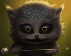 рисованное, животные,  коты, котёнок