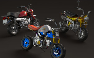 мотоциклы, honda, три, стиль, минибайки