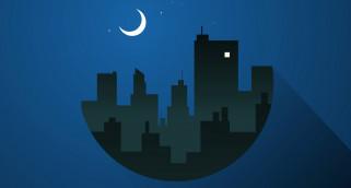 месяц, город, ночь, силуэт, дома, Луна