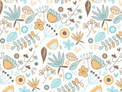 цветы, вектор, узор, текстура, фон