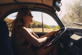 marisa papen, девушки, блондинка, купальник, очки, машина, руль