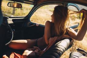 marisa papen, девушки, marisa, papen, трусики, рубашка, блондинка, машина