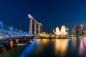 singapore, города, сингапур , сингапур, панорама, ночь, огни