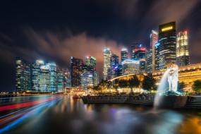 singapore, города, сингапур , сингапур, панорама, огни, ночь
