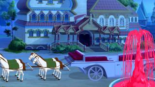 лошадь, дом, карета, фонтан