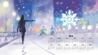 календари, рисованные,  векторная графика, девушка, зима, снежинка