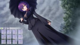 календари, аниме, девушка, взгляд, зонт, дождь