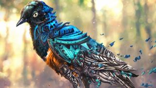 птица, робот, детали