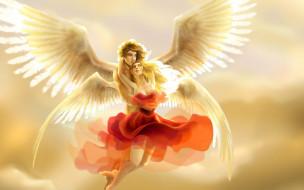 фэнтези, ангелы, влюбленная, пара, ангелов, в, небе