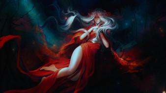 фэнтези, девушки, девушка, by, exellero, красное, платье