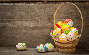 Пасха, happy, colorful, Easter, корзина, wood, basket, spring, holiday, eggs, яйца крашеные