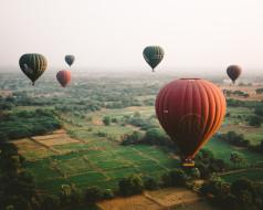 небо, воздушные шары, земля