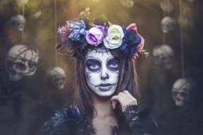 черепа, девушка, Day of the Dead, грим, венок, Kobi Alony