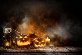 свечи, тыквы, хэлуин, праздник