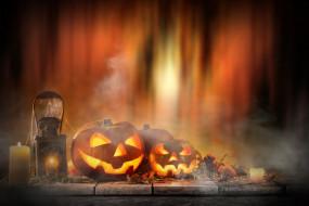 хэлуин, свечи, праздник, тыквы
